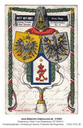 Rastenburg, Hindenburgstraße, Hindenburg-Kaserne, Postkarte des Regiments
