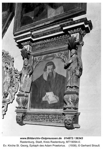 Rastenburg, Ev. Kirche St. Georg, Epitaph des Adam Praetorius