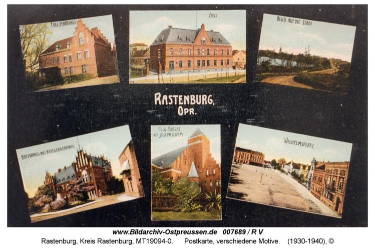 Rastenburg, Postkarte, verschiedene Motive
