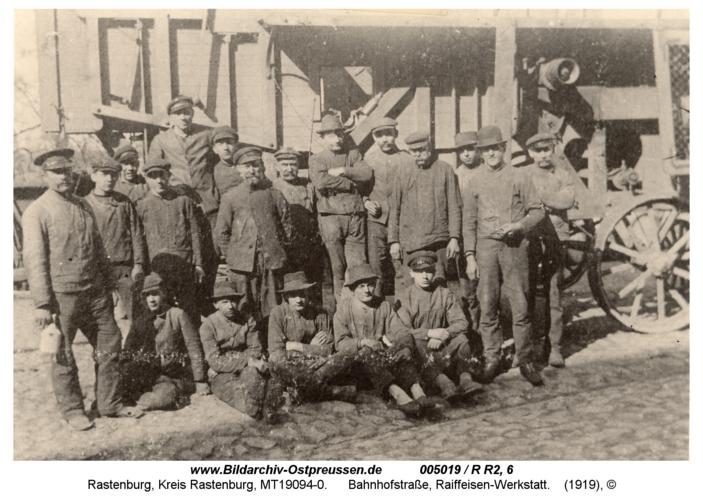 Rastenburg, Bahnhofstraße, Raiffeisen-Werkstatt