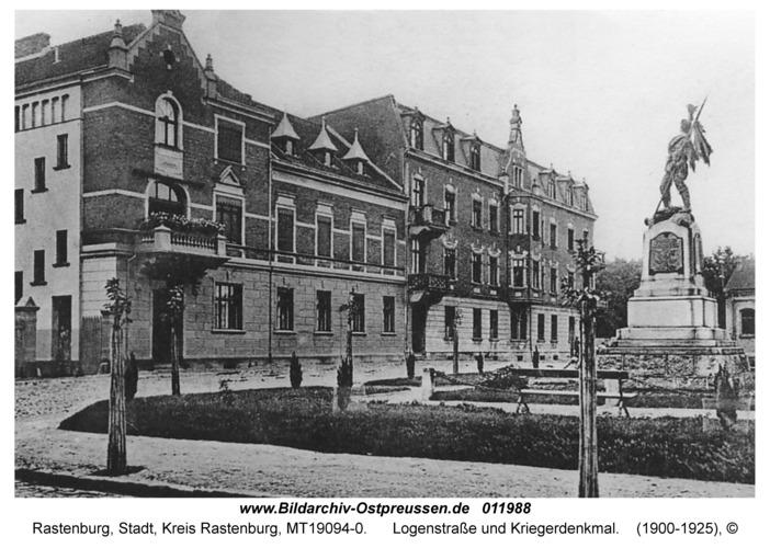 Rastenburg, Logenstraße und Kriegerdenkmal