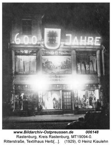 Rastenburg, Ritterstraße 9, Textilhaus Herbst, 600-Jahrfeier