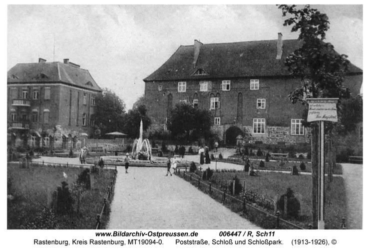 Rastenburg, Poststraße, Schloß und Schloßpark