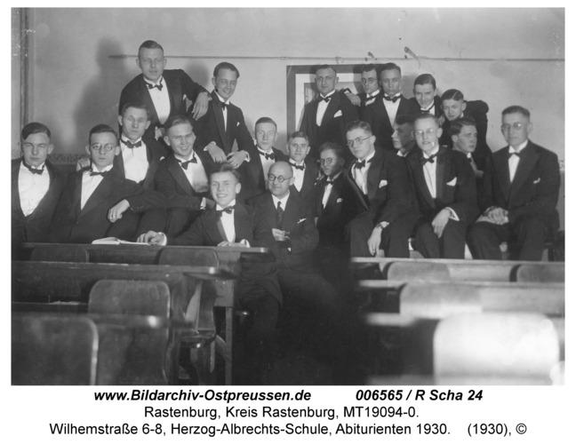 Rastenburg, Wilhelmstraße 6-8, Herzog-Albrechts-Schule, Abiturienten 1930