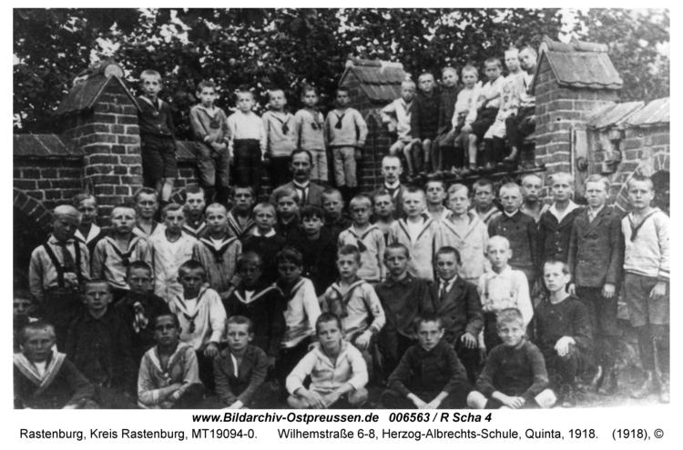 Rastenburg, Wilhelmstraße 6-8, Herzog-Albrechts-Schule, Quinta, 1918