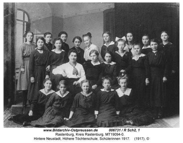 Rastenburg, Hintere Neustadt, Höhere Töchterschule, Schülerinnen 1917
