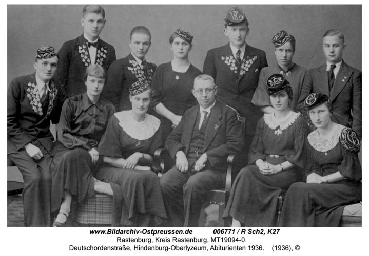 Rastenburg, Deutschordenstraße, Hindenburg-Oberlyzeum, Abiturienten 1936
