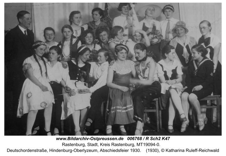 Rastenburg, Deutschordenstraße, Hindenburg-Oberlyzeum, Abschiedsfeier 1930