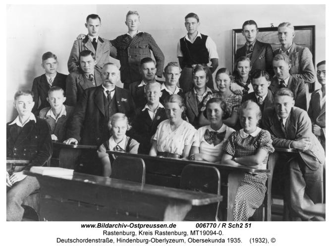 Rastenburg, Deutschordenstraße, Hindenburg-Oberlyzeum, Obersekunda 1935