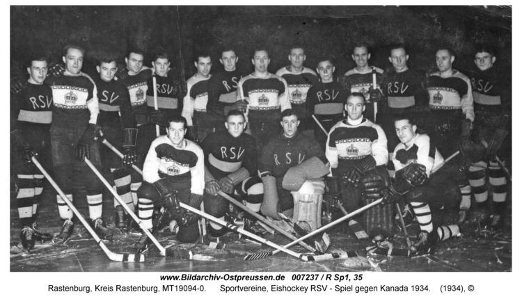 Rastenburg, Sportvereine, Eishockey RSV - Spiel gegen Kanada 1934