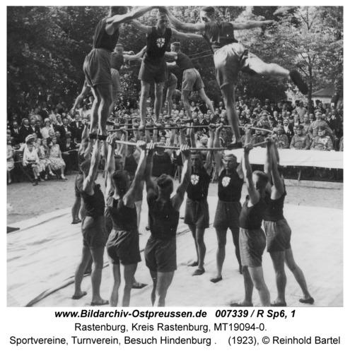 Rastenburg, Sportvereine, Turnverein, Besuch Hindenburg