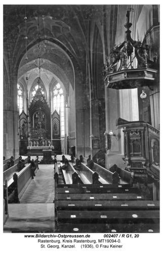 Rastenburg, St. Georg, innen, Kanzel