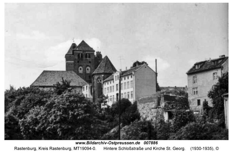 Rastenburg, Hintere Schloßstraße und Kirche St. Georg