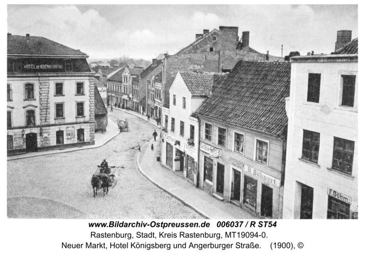 Rastenburg, Neuer Markt, Hotel Königsberg und Angerburger Straße