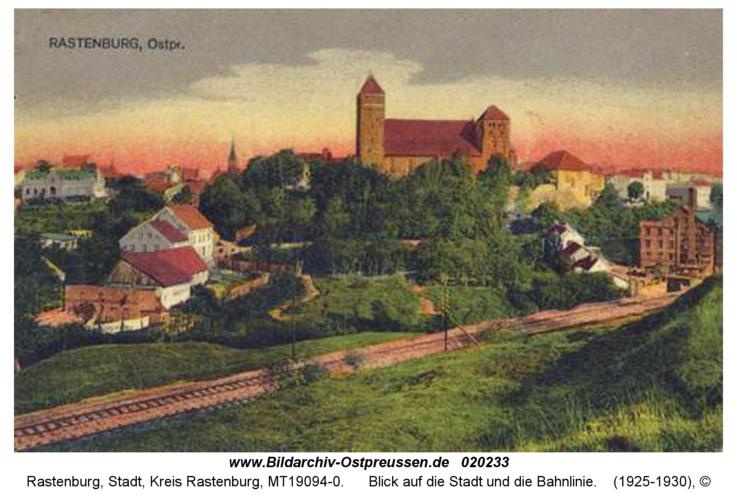 Rastenburg, Blick auf die Stadt und die Bahnlinie