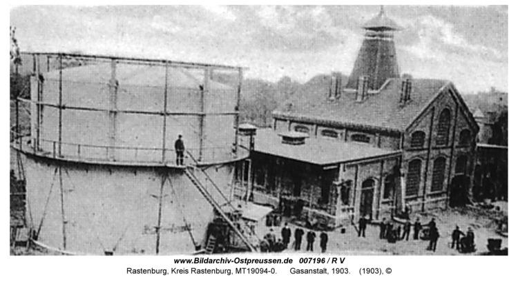 Rastenburg, Königsplatz, Gaswerk, 1903