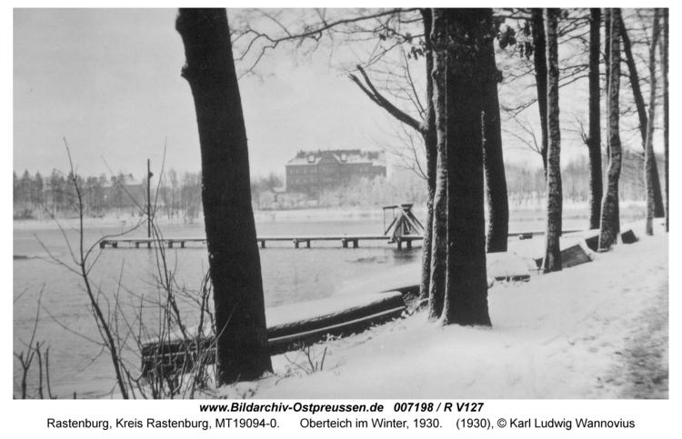 Rastenburg, Oberteich im Winter, 1930
