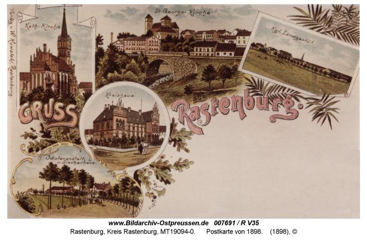 Rastenburg, Postkarte von 1898