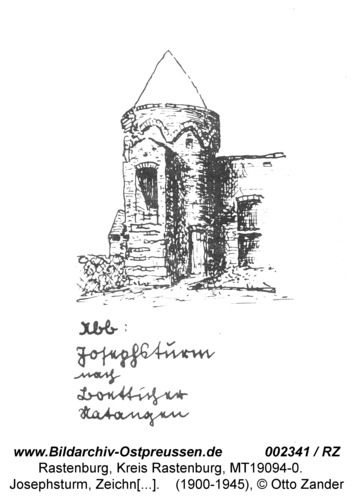 Rastenburg, Alte Stadtbefestigung, Josephturm, Zeichnung