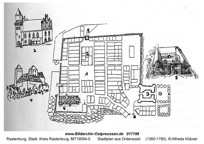 Rastenburg, Stadtplan aus Ordenszeit