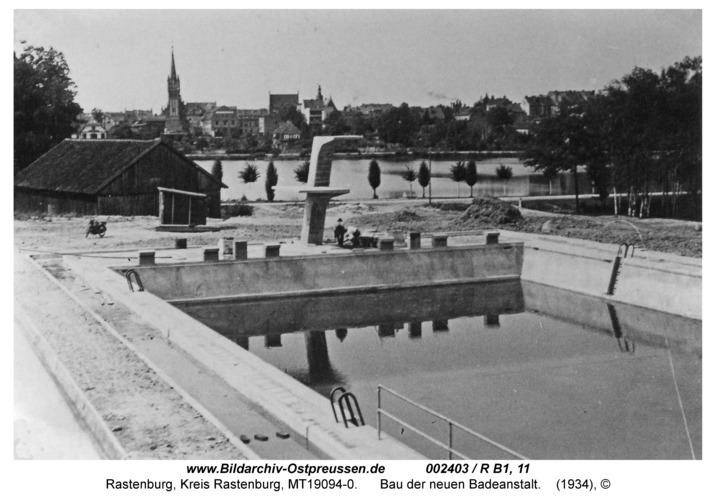 Rastenburg, Neue Badeanstalt, Bau