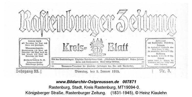 Rastenburg, Königsberger Straße, Rastenburger Zeitung
