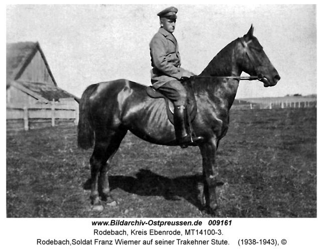 Rodebach, Soldat Franz Wiemer auf seiner Trakehner Stute