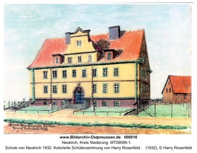 Schule von Neukirch 1932. Kolorierte Schülerzeichnung von Harry Rosenfeld