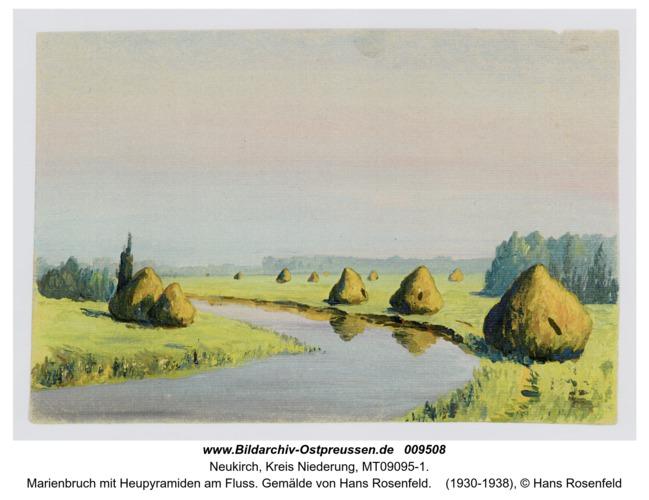 Marienbruch mit Heupyramiden am Fluss. Gemälde von Hans Rosenfeld