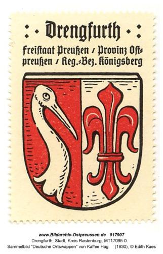"""Drengfurt, Sammelbild """"Deutsche Ortswappen"""" von Kaffee Hag"""