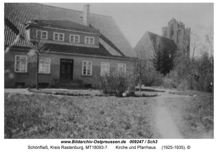 Schönfließ, Kirche und Pfarrhaus