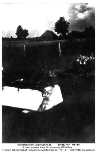 Schneckenwalde, Friedhof, dahinter Gehöft Ferdinand Kerwel (Seidlitz) 65 -176 / 06