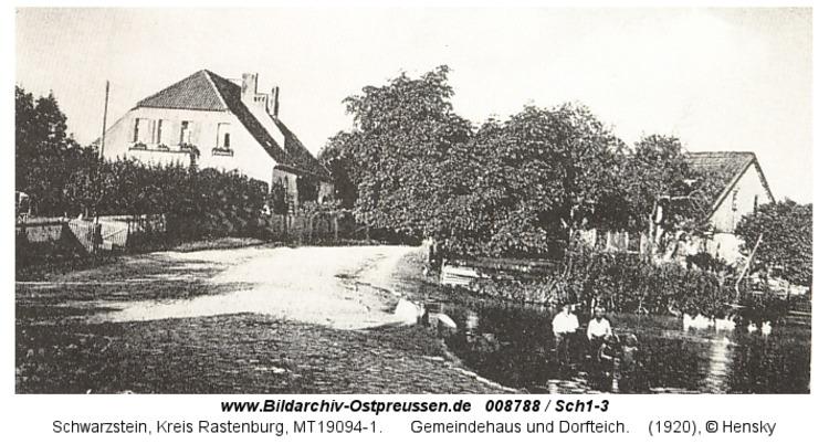 Schwarzstein, Gemeindehaus und Dorfteich