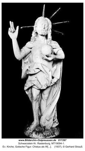 Schwarzstein, Ev. Kirche, Gotische Figur: Chistus als Weltheiland