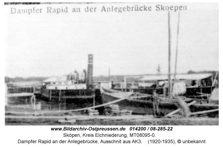 Sköpen 08-185-22, Dampfer Rapid an der Anlegebrücke, Ausschnit aus AK3