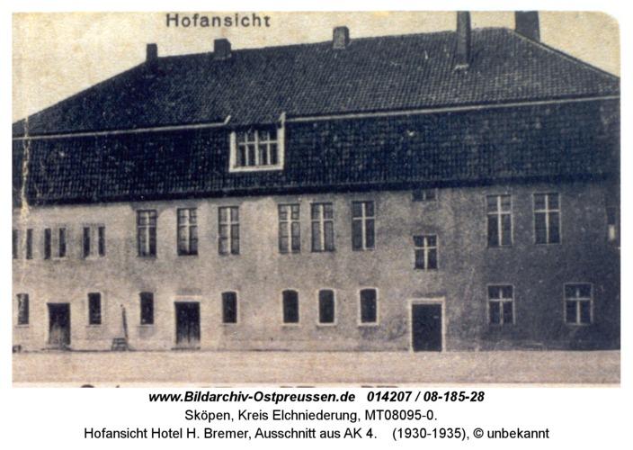 Sköpen 08-185-28, Hofansicht Hotel H. Bremer, Ausschnitt aus AK 4