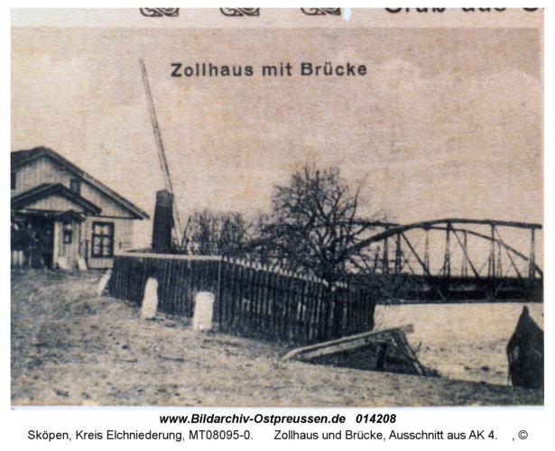 Sköpen 08-185-29, Zollhaus und Brücke, Ausschnitt aus AK 4