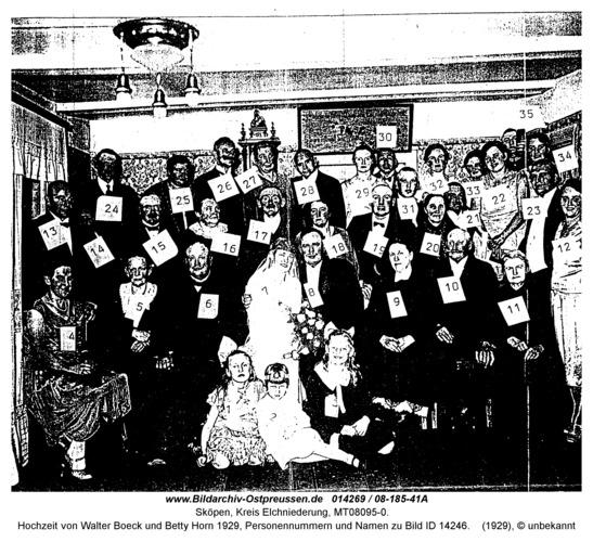 Sköpen 08-185-41A, Hochzeit von Walter Boeck und Betty Horn 1929, Personennummern und Namen zu Bild ID 14246
