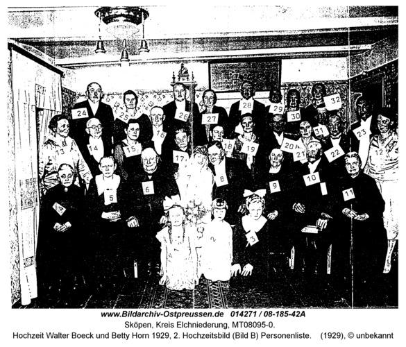 Sköpen 08-185-42A, Hochzeit Walter Boeck und Betty Horn 1929, 2. Hochzeitsbild (Bild B) Personenliste