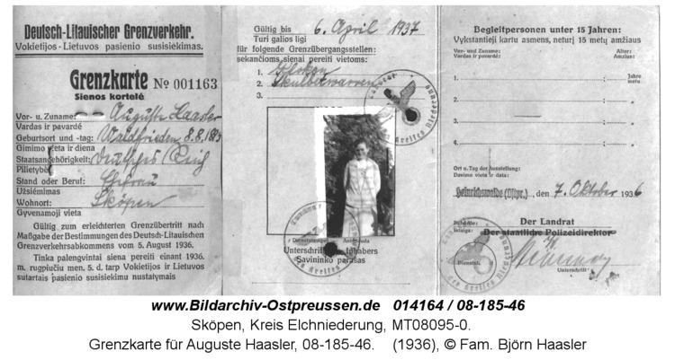Sköpen 1936, Grenzkarte für Auguste Haasler, 08-185-46