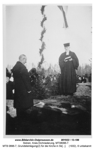 Skören, MTB 0896-7, Grundsteinlegung(2) für die Kirche in Skören 1932 durch Superintendent Kaschade (1878-1961) aus Neukirch