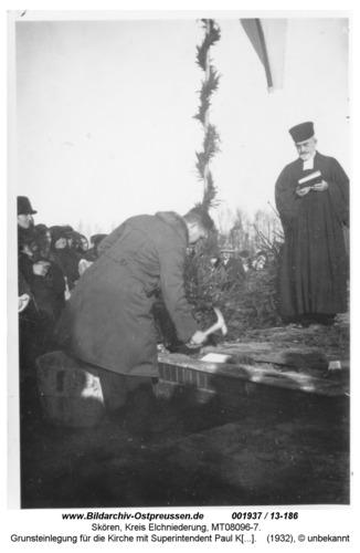 Skören 1932, Grunsteinlegung für die Kirche mit Superintendent Paul Kaschade aus Neukirch