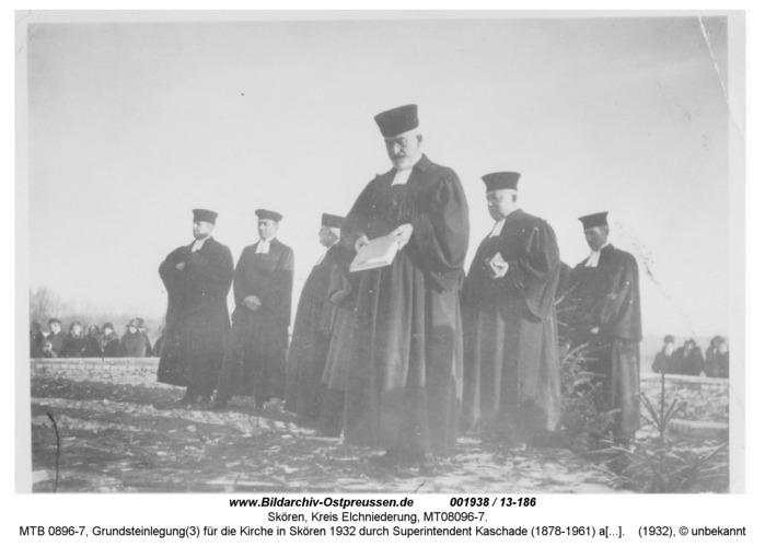 Skören, MTB 0896-7, Grundsteinlegung(3) für die Kirche in Skören 1932 durch Superintendent Kaschade (1878-1961) aus Neukirch
