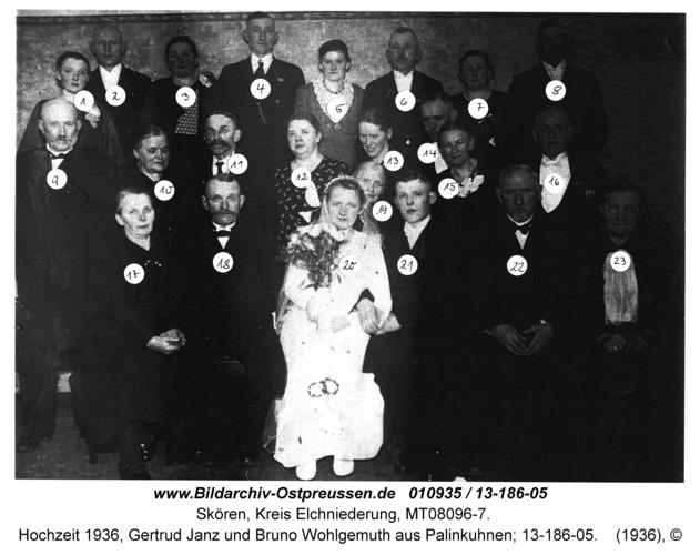 Skören, Hochzeit 1936, Gertrud Janz und Bruno Wohlgemuth aus Palinkuhnen; 13-186-05