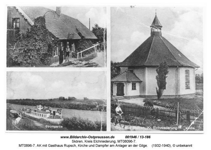 Skören, MT0896-7. AK mit Gasthaus Rupsch, Kirche und Dampfer am Anleger an der Gilge