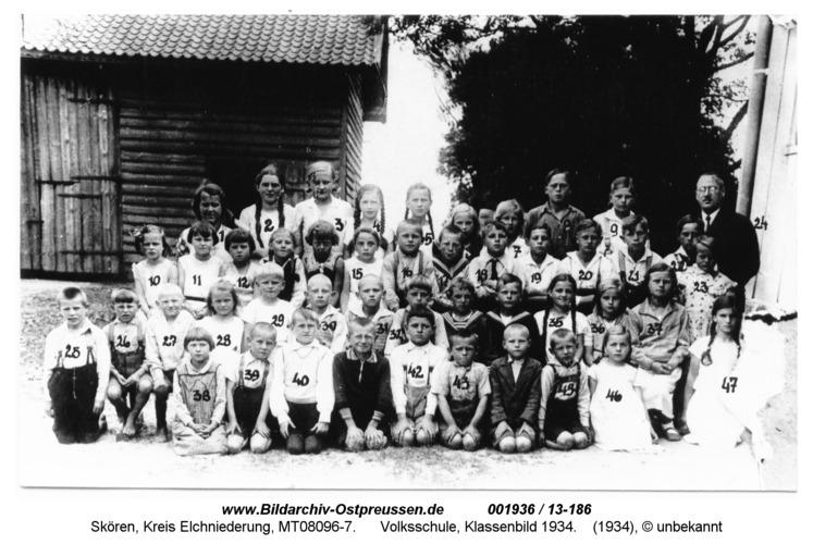 Skören, Volksschule, Klassenbild 1934