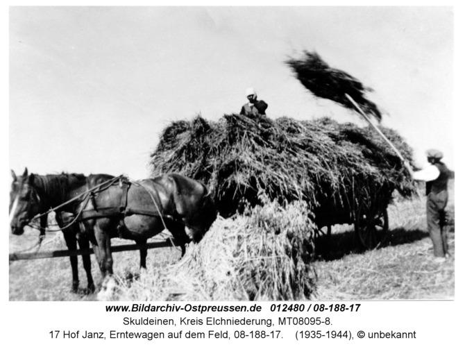 Skuldeinen, 17 Hof Janz, Erntewagen auf dem Feld, 08-188-17