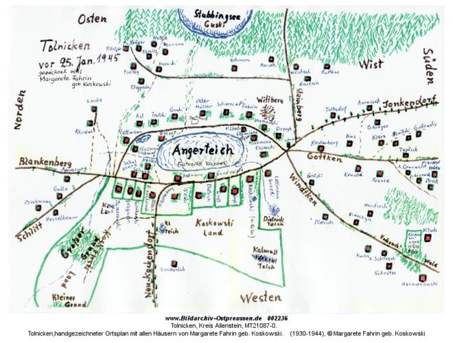 Tolnicken, handgezeichneter Ortsplan mit allen Häusern von Margarete Fahrin geb. Koskowski