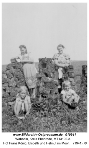 Wabbeln, Hof Franz König, Elsbeth und Helmut im Moor