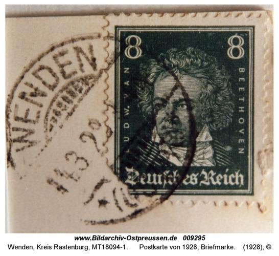 Wenden, Postkarte von 1928, Briefmarke